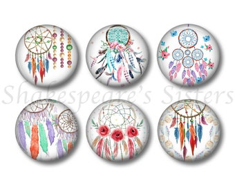 Dreamcatcher Magnets - Set of Six 1.5 Inch Magnets - Dream Catcher - Feather Kitchen Magnets
