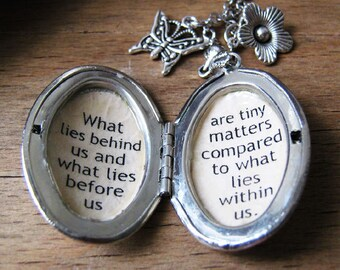 inspirational jewelry locket necklace for women  with inspiring message pendant  quote from Ralph Waldo Emerson