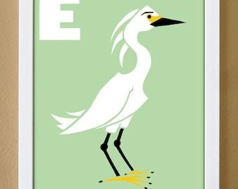 alphabet letter E, egret, custom colors, children's letter art, letter print, nursery decor, kids initials, 4X6, 5X7, 8X10