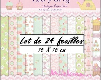 "Set of 24 sheets theme ""Tea Party"" 15 X 15 cm scrapbooking cardmaking (ref.110) *."