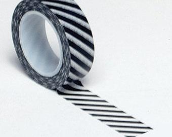 Black Diagonal Stripe Washi Tape . 10 yards (1 roll)