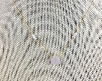 Rose Quartz and Pearl Necklace - Gold - Gift - Bridesmaids - Wedding - Bridal -