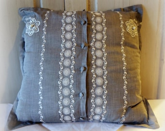Embroidered grey fabric romantic pillow cover