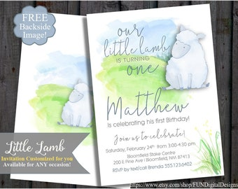 Lamb Watercolor Invitation, First Birthday, Baby Shower, Boy, Blue, lamb birthday party invitation