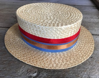 Antique French 1920s Straw Boater Hat,  Red Blue Ribbon Bow, Size 7
