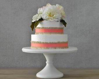 "16"" Wedding Cake Stand Cupcake Pedestal White Cake Stand Rustic Wooden Wedding Topper E.Isabella Designs Featured In Martha Stewart Weddings"