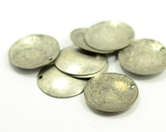 20 Pcs. Antique Silver 20 mm Round Cambered 1 Hole Findings
