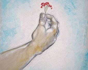 Hand with Flower (ORIGINAL ART), large scale art, hand art, man art, wall art, blue, red flower, modern, contemporary,