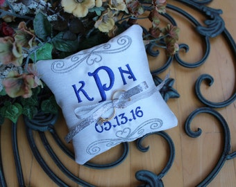 Personalized Ring bearer pillow, Wedding ring pillow , Monogrammed wedding pillow ,personalized ring pillow, ring bearer pillow, silver F21