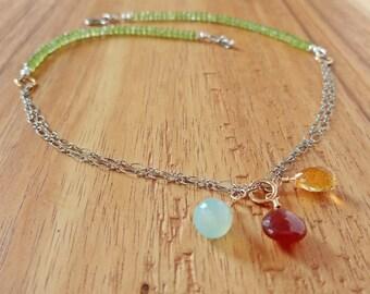 Mixed Gemstone Necklace, Multi Gemstone Necklace, Chakra Jewelry, Healing Gemstone Jewelry, Sterling Silver Jewelry, Boho Chic Jewelry