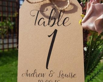 Personalised wedding table numbers