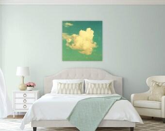 modern nursery art // cloud photography // large canvas art // aqua blue canvas - Poof, large art on canvas