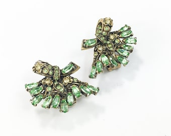 50s Hollycraft Green Rhinestone Clip Earrings