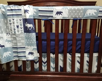 Woodland Moose Patchwork Baby Blanket or Quilted Comforter- Bear, Pine tree, Moose, Lodge, Check, Plaid, Mountain, Stars, Blue, Gray