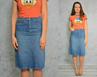 "Denim Skirt High waisted MINI jean pockets vintage 90's Pencil Marble M Medium 29"" waist"