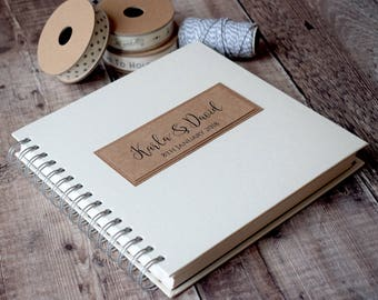 Rustic Personalised Wedding Guest Book, Wire Bound for Photos and Guests Messages.