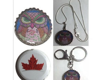 Canada Molson Beer bottle cap OWL Folk Art Drawing Keychain, Pendant, Necklace