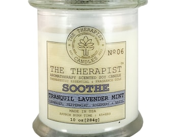 Scented Soy Candle < No. 06 Tranquil Lavender Mint>- Hand Poured - Moderately Fragrant - 10 oz