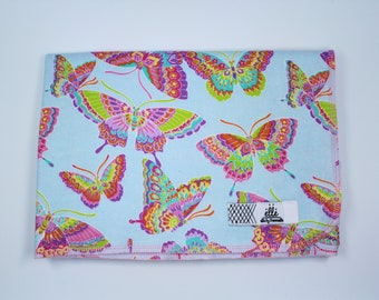 """Blue Butterfly Rainbow Extra Large Receiving Blanket - 36"""" x 42"""""""