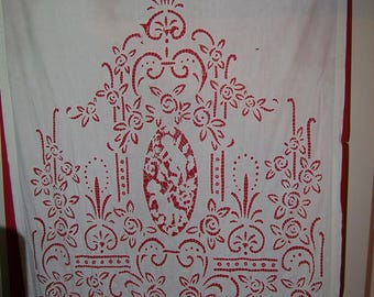 bed curtains/ BED HANGING/ lace panels, lace curtains, cherubs antique lace panels,19th century lace