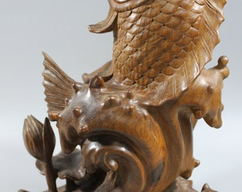 """10"""" Tall Verawood Craft Carving Of Jumping Fish M72"""