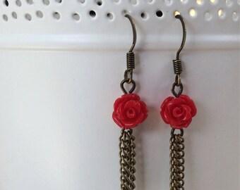 Red Rose and Brass Tassel Rarrings
