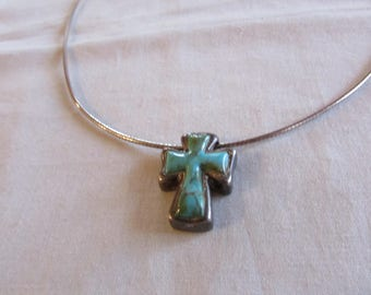 Barse 925 Sterling Silver and Turquoise Cross Necklace