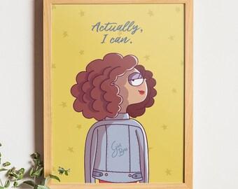 Actually I Can, Girl Wearing Jacket, Inspirational Art, Motivational Print, Art For Girls, Denim jacket, Inspirational Quote, Feminism