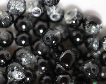❥ Lot 10 x _ clear & Black Crackle Glass round bead