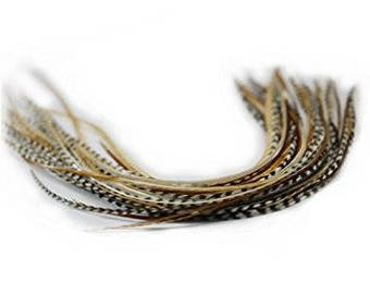"""7 Feathers 8""""-12"""" Beautiful Natural Beige & Brown Mixes with 2 Beads"""