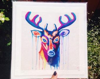 Deer art print, beautiful art print, animal art, paint drips, gift idea