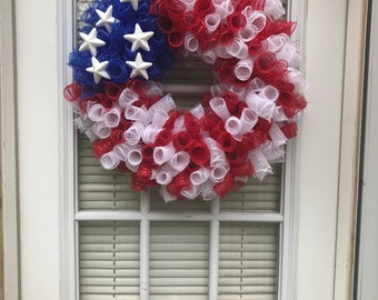Patriotic deco mesh flag wreath