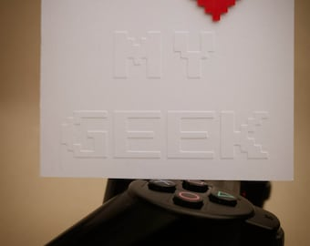 Extra Large Geeky Card - 8-Bit - Pixel I Heart My Geek Embossed Valentine's day