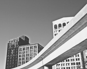 The Detroit People Mover - New Vintage Photograph - Black and White