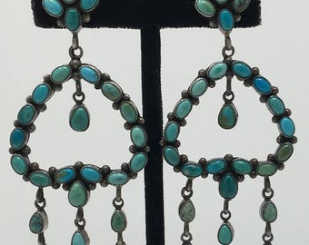 Native American Sterling Silver Handmade Navajo Natural Carico Lake Turquoise Dangle Earrings