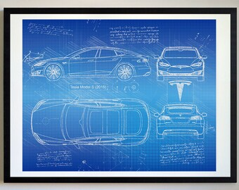 Car blueprint etsy tesla model s 2016 tesla artwork blueprint specs blueprint patent prints posters malvernweather Images