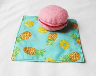 Pineapple Decor Cocktail Napkin Set - Fruit Yellow Aquamarine Blue Aqua - Reusable Eco-Friendly Picnic Coasters - Homewares Tropical For Her