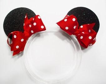 Glitter Minnie Mouse Ear Hair Barrettes or Clips