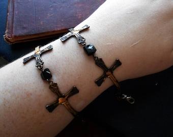 anathema - brass crucifix link braceletcross bracelet occult bracelet goth antique statement bracelet catholic bracelet black tourmaline