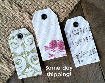 6 Canvas Gift Tags with Grommet - Set of 6