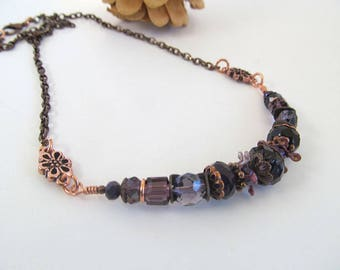 Amethyst Dreams Bib Necklace, Bohemian Necklace, Glass Bead Antique Copper necklace, Purple Bead Necklace, Moonlilydesigns, Vintage Boho