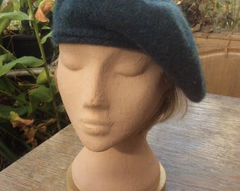 A Ladies beret or Tam -o-shanter in dark greeny/blue pure new wool
