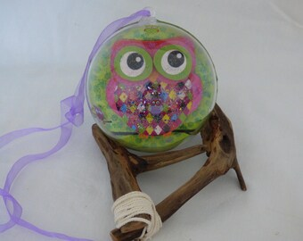 ball transparent 12cm decoupage decor OWL decor Christmas