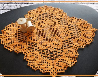 Filet Crochet Doily, filet lace doily, filet crochet tablecloth, orange Filet Crochet
