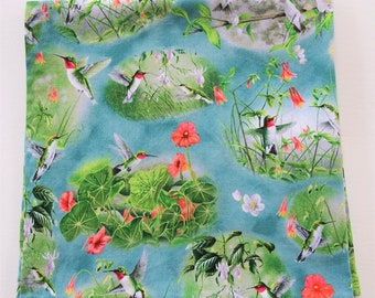 """Hummingbird Bandana, Fuschias, 22"""" Cotton Print Scarf, Summer Gardening Scarves, Lily Pads, Unique Square Cotton Scarves, Gifts For Women"""