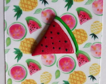 Clay watermelon flatback bow centre from 0.50p