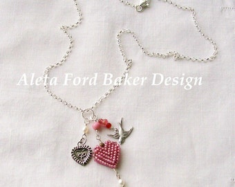 """Pink Heart Charm Necklace On Sterling Silver Chain 18 """" L Valentine Gift Sweetheart"""