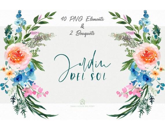Digital Clipart- Watercolor Flower Clipart, peonies Clip art, Floral Bouquet Clipart, - Jardin Del Sol Elements & 2 Bouquets