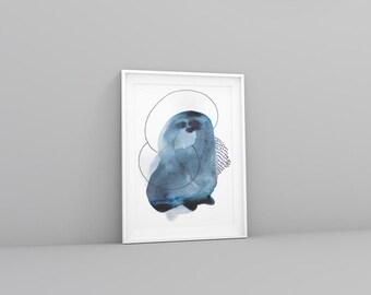 Abstract Blue Art Print. Large Blue Print. Abstract Art Print in Blue. Colorful Minimalist Art Print. Modern and Minimal Art.