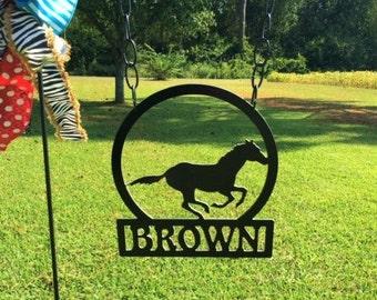 Garden Flag, Mononogram Garden Flag, Horse, Horse Garden Flag, Running Horse, Last Name Flag, Horse Flag, Stable Flag, Equine Flag, Birthday